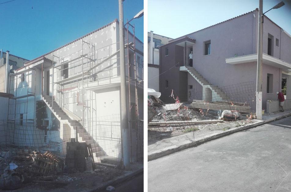 Θερμομόνωση τοίχων και ταράτσας σε ημιτελή κατοικία, με τελικό ακρυλικό επίχρισμα